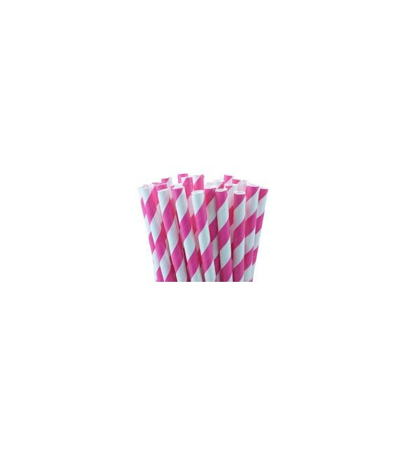 Paper Straws - stripes magenta pink (set of 25)
