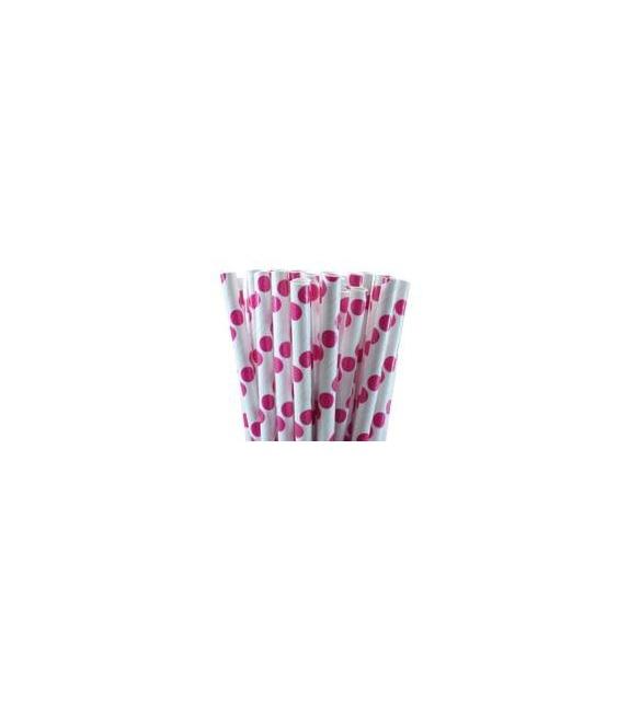 Pailles en papier - gros Pois rose magenta (set de 25)