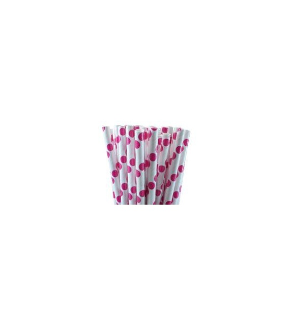 Paper Straws - magenta dots (set of 25)