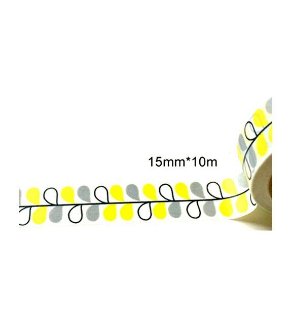 Masking Tape - feuilles scandinaves jaunes et grises