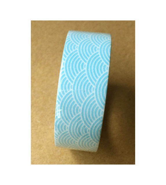 Masking tape - Motifs japonais vagues bleu ciel