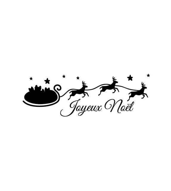 Tampon  - Noël - Traineau et Rennes Joyeux Noël