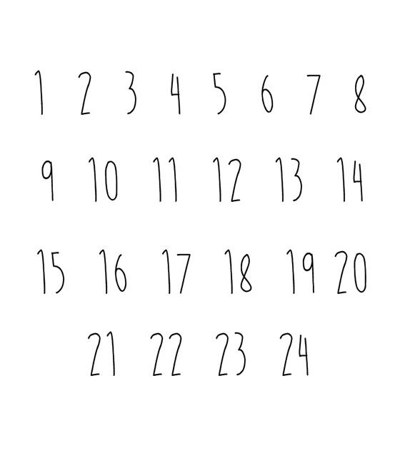 Tampon Noël - Chiffres de 1 à 24 pour l'Avent