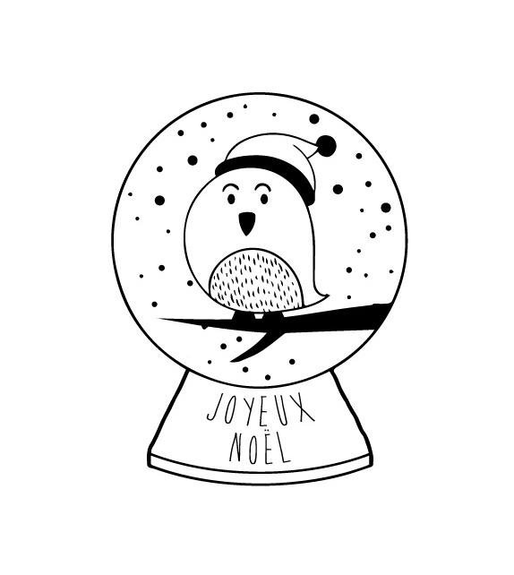 Tampon Noël - Oiseau dans boule à neige