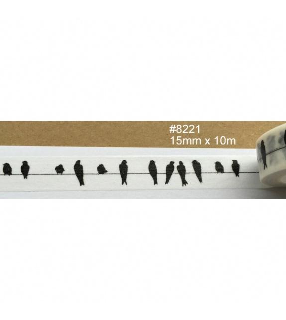 Masking tape - silhouettes d'oiseaux noires sur un fil