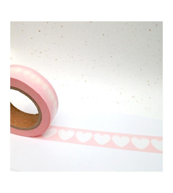 Masking Tape - beaux coeurs blancs sur fond rose poudré