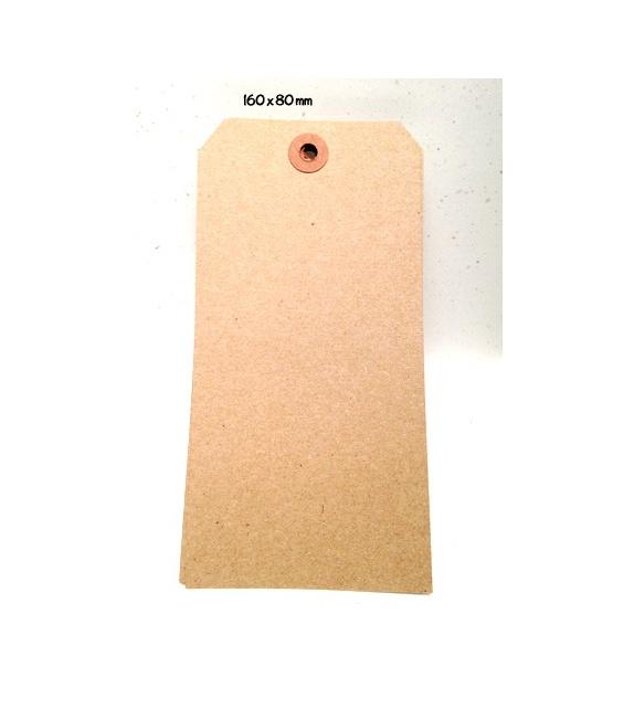 Tags avec oeillet kraft - XXXL (160 x 80mm) (x 10) - Kraft brun
