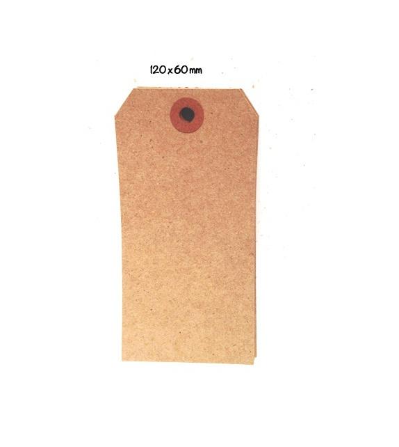 Tags Vanille avec oeillet kraft - L (121 x 60 mm) (set de 10)