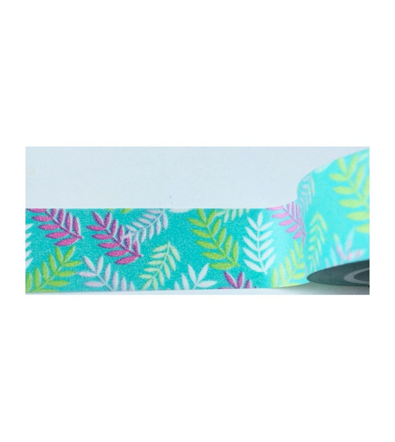Masking tape - feuillage sur fond turquoise