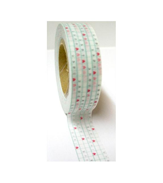 Masking tape - Love et coeurs sur carreaux mint
