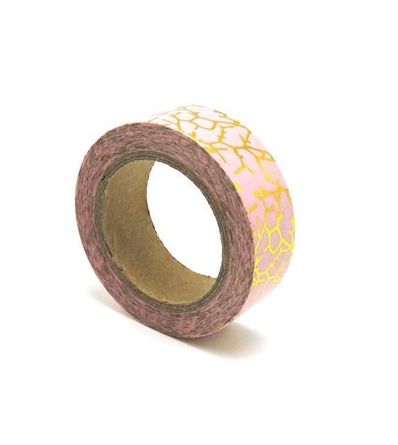 Masking Tape Foil Tape - craquelures or fond rose poudré