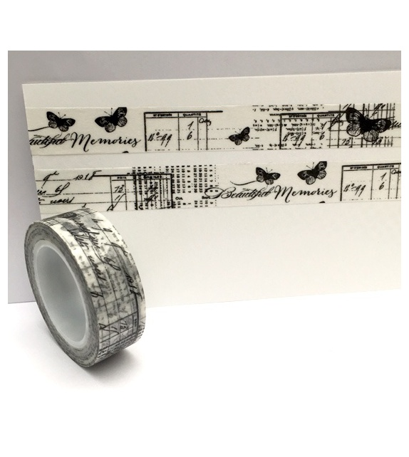 "Masking Tape - Papillons et texte noir ""Beautiful memories"""