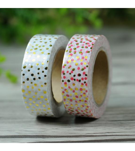 Masking Tape Foil Tape - pois variés corail et or fond blanc