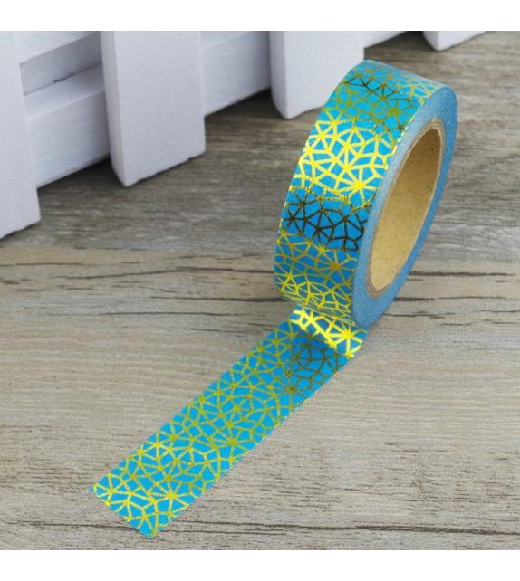 Masking Tape Foil Tape - motifs géométriques or fond bleu céladon