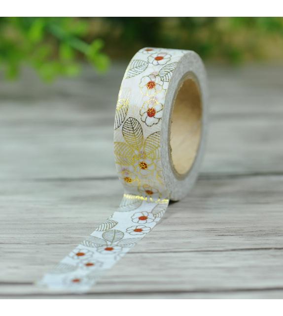 Masking Tape Foil Tape - fleurs japonaises dorées