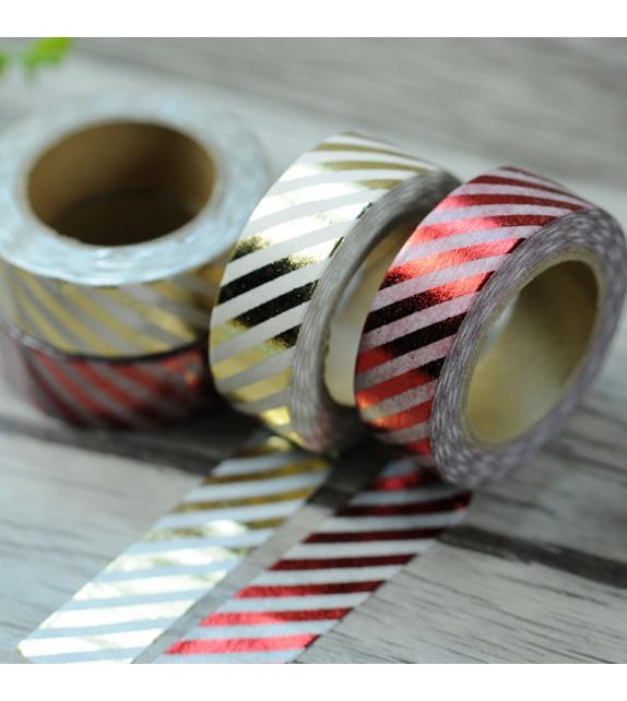 Solo Foil Tape - Diagonales fines rouges