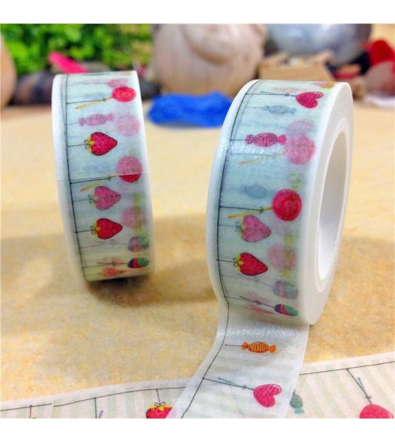 Masking Tape - Petites sucettes fond vert clair