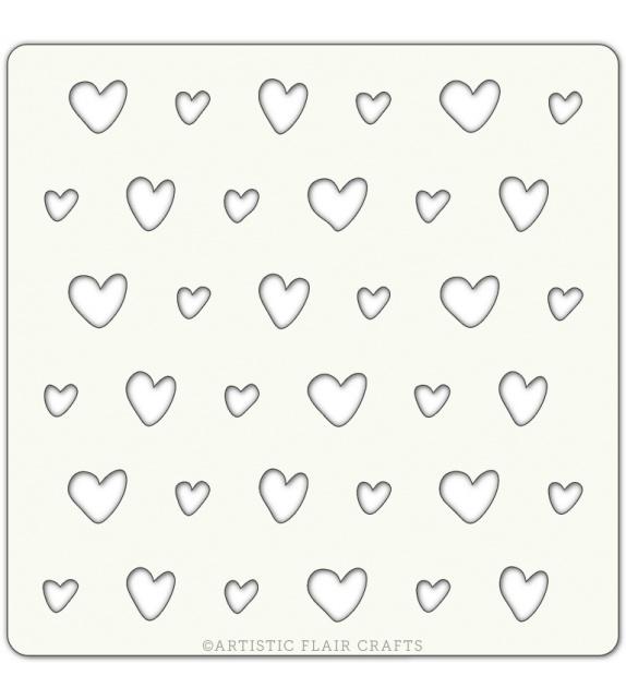 """Stencil 4"""" x 4"""" - Scrappy Hearts"""