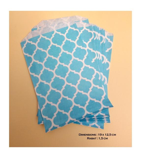 Sachets plats kraft blancs - motifs marocains bleu turquoise 12,5 x 19 cm (set de 10)