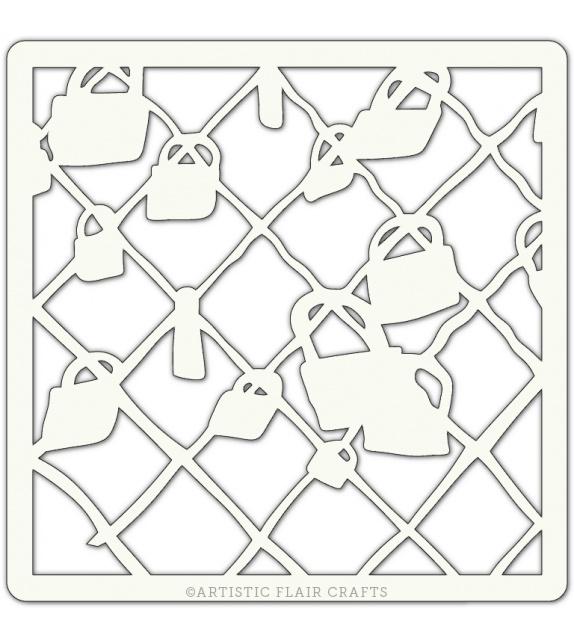 "Pochoir 4"" x 4"" - Cadenas (locked away)"