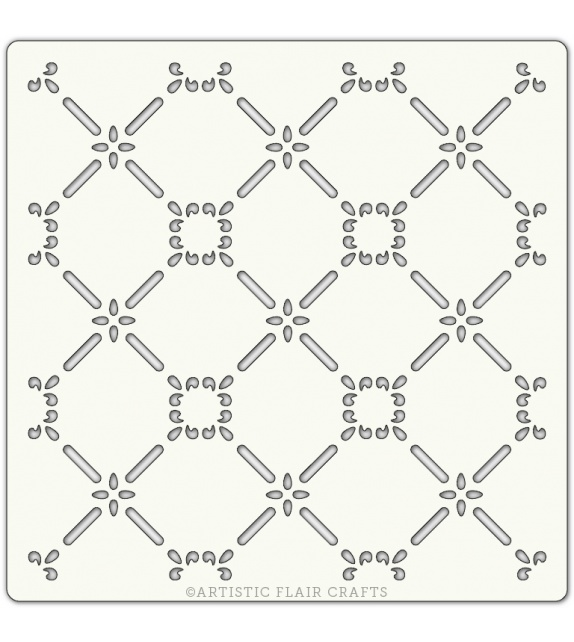 "Pochoir 6""x 6""- Climbing Lattice"
