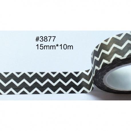 Masking Tape - Chevrons fins blancs dans la longueur sur fond noir