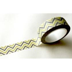 Masking Tape - Chevrons dans la longueur gris et jaune clair