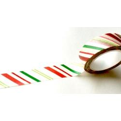 Masking Tape - Diagonales fines rouges et vertes