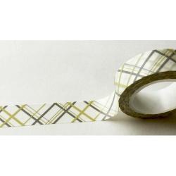 Masking Tape - Lignes croisées grises et flanelle