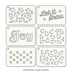 Set de 6 pochoirs - Festive Tabs Noël