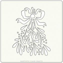 """Pochoir 6""""x 6""""- Mistletoe Noeud et Fleurs"""