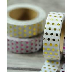 Masking Tape Foil Tape - Pois or fond blanc