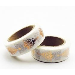 Masking Tape Foil Tape - Sapins de Noel cuivre fond blanc
