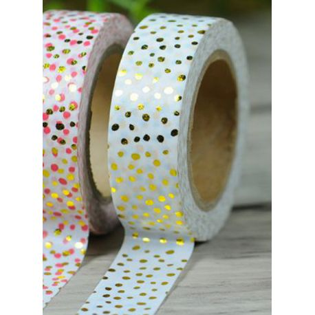 Solo Foil Tape - mixed golden dots on white