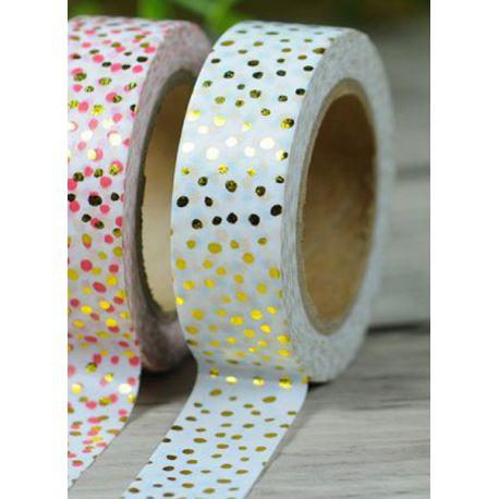 Masking Tape Foil Tape - pois variés or fond blanc