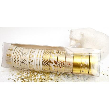 Box of Masking Tape by Lovely Tape - 12 rolls - Gold & White
