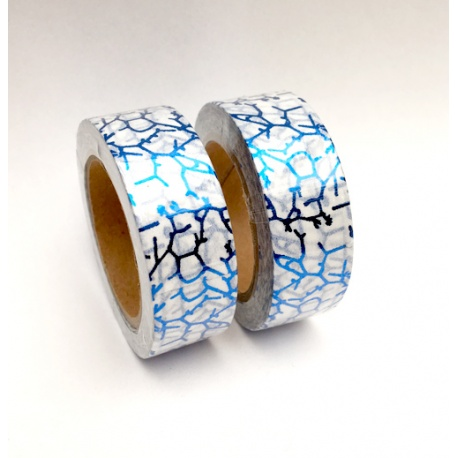Solo Foil Tape - Cracled Blue on white