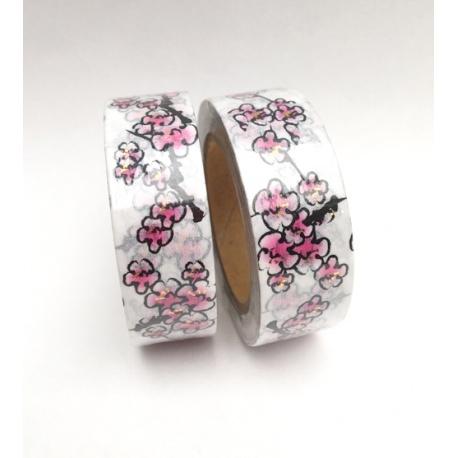 Masking Tape Foil Tape - Fleurs de cerisiers rose pistils or