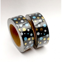 Solo Foil Tape - Dots Blue White Gold on white