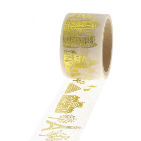 Masking Tape Foil Tape - Paris or sur fond blanc