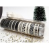 Coffret Noël - 12 rouleaux de masking tape noir et blanc