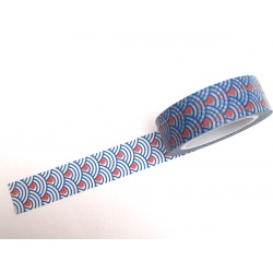 Masking Tape - Wave Seigha Blue red dot