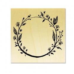 Tampon support bois - Couronne de Fleurs A