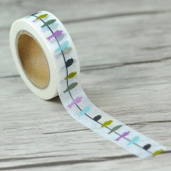Masking Tape - Oiseaux Pastels sur un fil