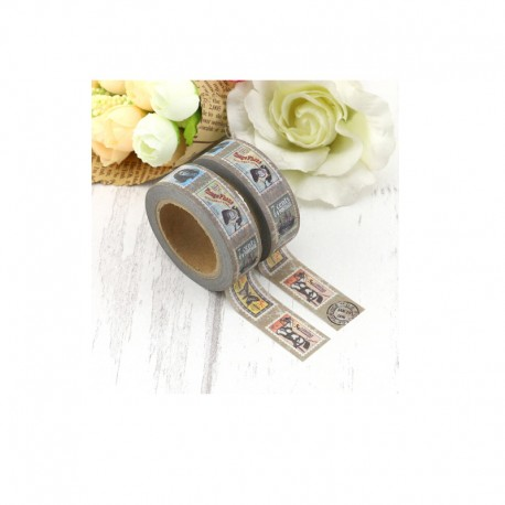 Masking Tape - Timbres fond gris taupe