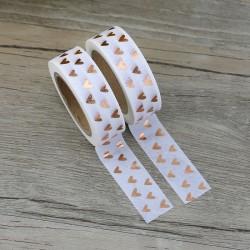 Masking Tape Foil Tape - Coeurs Cuivre sur fond blanc