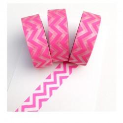 Masking Tape - Chevrons dans la longueur - Rose Fluo