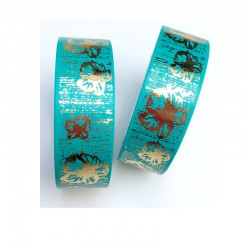 Masking Tape Foil Tape - Hibiscus Or Brillant fond vert menthe