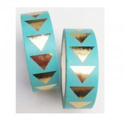 Masking Tape Foil Tape - Triangles Or Brillant fond vert menthe