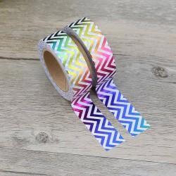 Masking Tape Foil Tape - Chevrons dans la longueur Holographique Coloré